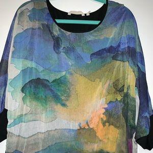 Soft Surroundings Watercolor Print Blouse Medium